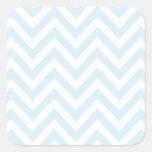 Light Blue and White Chevron Stripe Pattern Square Sticker