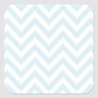 Light Blue and White Chevron Stripe Pattern Square Sticker