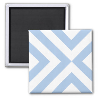 Light Blue and White Chevrons Square Magnet