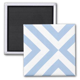 Light Blue and White Chevrons Square Magnet