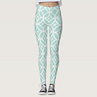 Light Blue and White Circle and Star Pattern Leggings