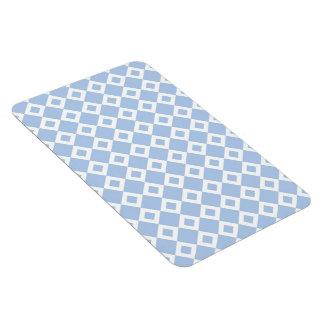 Light Blue and White Diamond Pattern Rectangular Photo Magnet