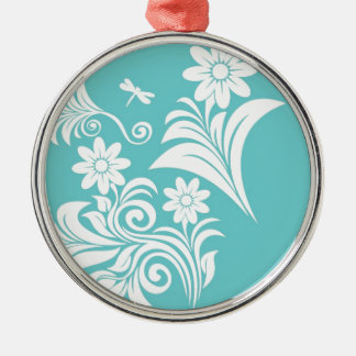 Light blue and white flowers Silver-Colored round decoration