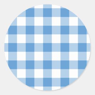 Light Blue and White Gingham Pattern Round Sticker