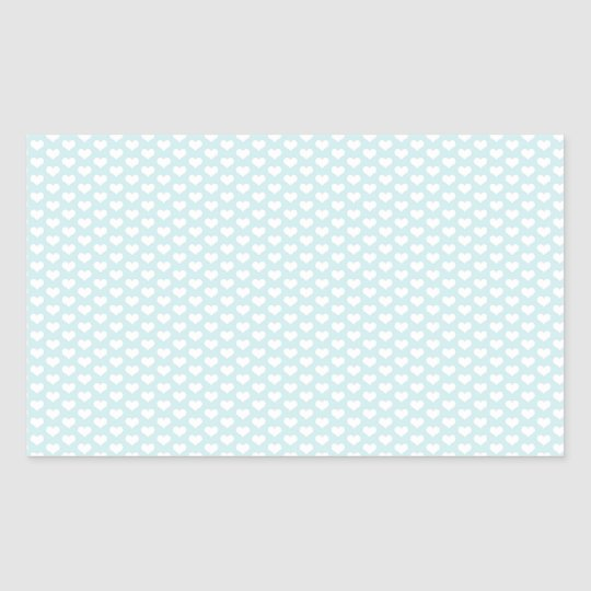 Light Blue and White Hearts Rectangular Sticker