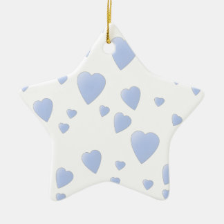 Light Blue and White Love Hearts Pattern. Christmas Ornament