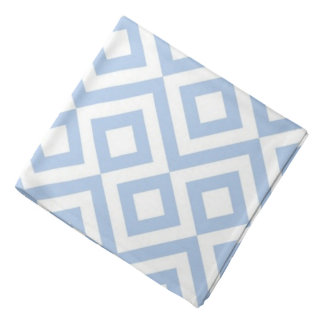 Light Blue and White Meander Bandana
