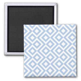 Light Blue and White Meander Square Magnet