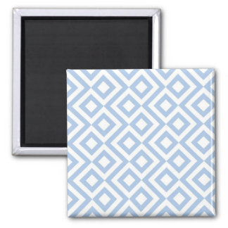 Light Blue and White Meander Square Magnet