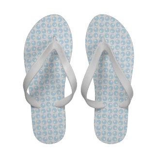 Light Blue and White Retro Circles Flip-Flops