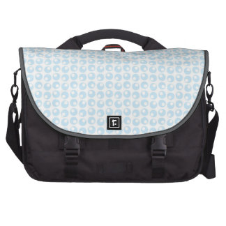 Light Blue and White Retro Circles Commuter Bags