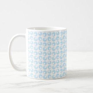 Light Blue and White Retro Circles Coffee Mug