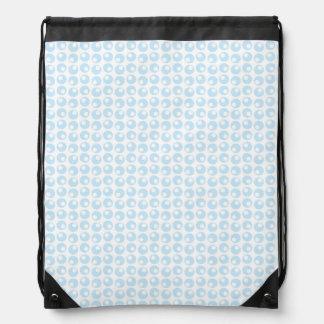 Light Blue and White Retro Circles Drawstring Backpack