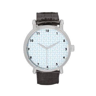 Light Blue and White Retro Circles Wristwatches