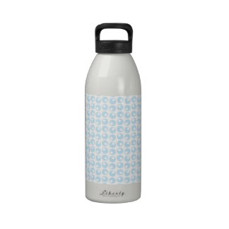 Light Blue and White Retro Circles Drinking Bottle