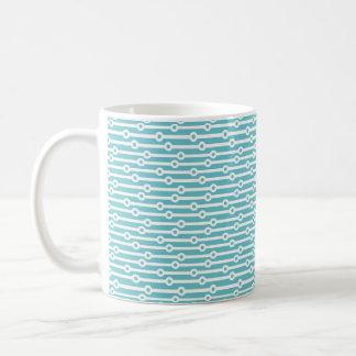 Light Blue and White Retro Stripes Coffee Mugs