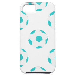 Light Blue and White Soccer Ball Pattern iPhone 5 Cases