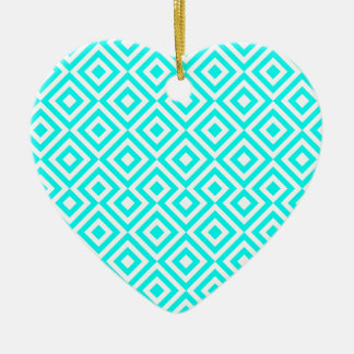 Light Blue And White Square 001 Pattern Ceramic Heart Decoration