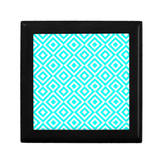 Light Blue And White Square 001 Pattern Small Square Gift Box