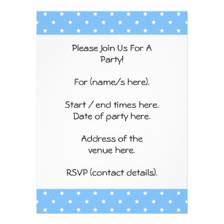 Light Blue and White Star Pattern Custom Announcements