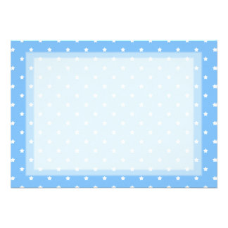 Light Blue and White. Star Pattern. Personalized Invitation