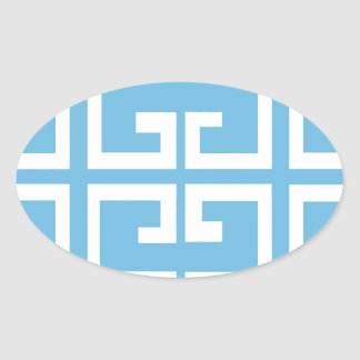 Light Blue and White Tile Oval Sticker