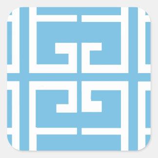Light Blue and White Tile Square Sticker