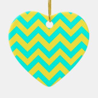 Light Blue And Yellow Chevrons Ceramic Heart Decoration