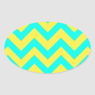 Light Blue And Yellow Chevrons Oval Sticker