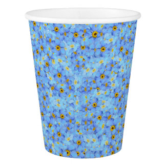 Light blue and yellow flowers paper cup