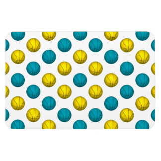 Light Blue and Yellow Gold Basketball Pattern Vinyl Magnets