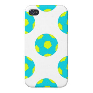 Light Blue and Yellow Soccer Ball Pattern Covers For iPhone 4