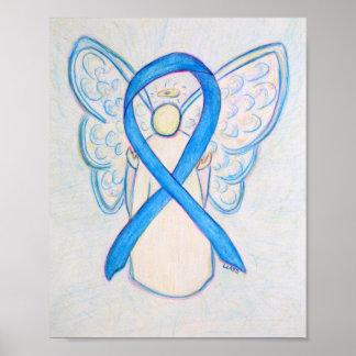 Light Blue Awareness Ribbon Angel Poster Art Print