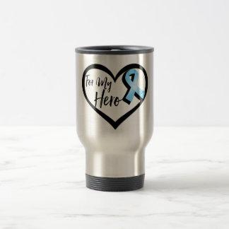 Light Blue Awareness Ribbon For My Hero Stainless Steel Travel Mug