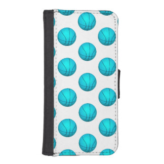 Light Blue Basketball Pattern iPhone SE/5/5s Wallet Case