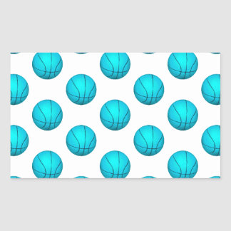 Light Blue Basketball Pattern Rectangle Sticker
