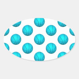Light Blue Basketball Pattern Oval Sticker