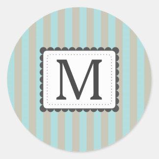 Light Blue & Beige Stripes Custom Monogram Round Sticker