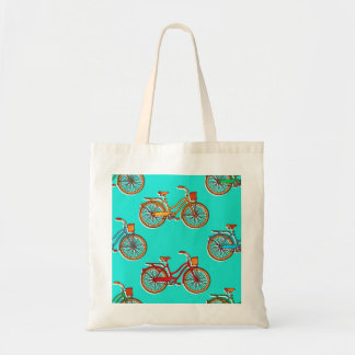 Light Blue Bicycle Budget Tote Bag