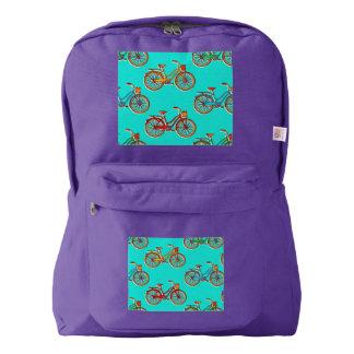 Light Blue Bicycle Purple American Backpack