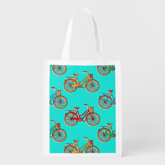 Light Blue Bicycle Reusable Grocery Bag