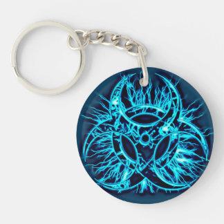 Light blue biohazard toxic warning sign symbol Single-Sided round acrylic key ring