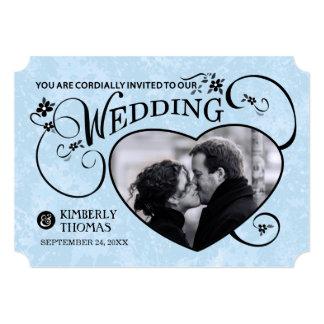 Light Blue & Black Heart Photo Wedding Invite