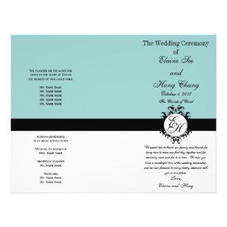 Light Blue Black Wedding Program Chic Monogrammed 21.5 Cm X 28 Cm Flyer