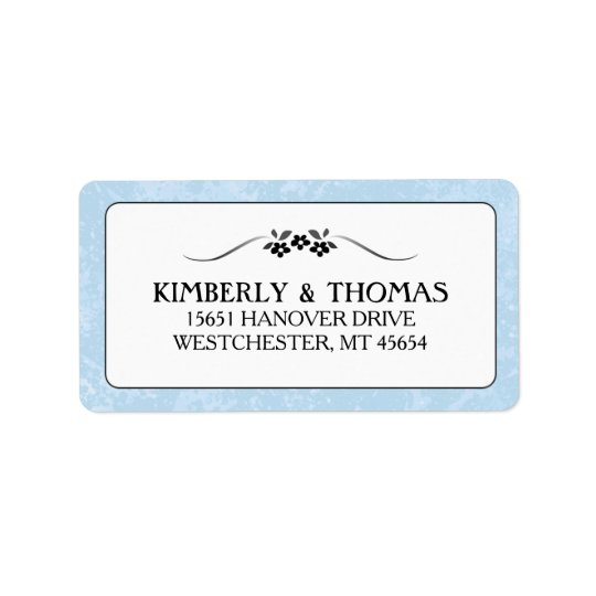 Light Blue, Black & White Wedding Fancy Floral Label
