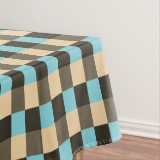 Light Blue Brown Chocolate Beige Cream Tan Tablecloth