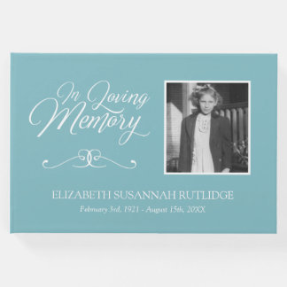 Light Blue Calligraphy In Loving Memory Photo Guest Book