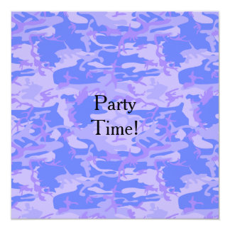 Light Blue Camouflage Party Flat Invitation Card
