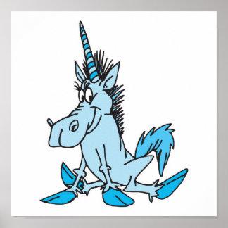 light blue cartoon unicorn poster