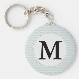 Light Blue Chevron Monogram Key Ring